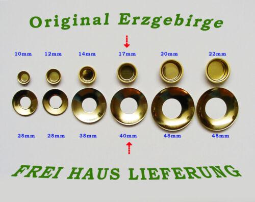 Kerzentüllen m.Tropfenfänger 17mm Messingoptik Kerzenhalter Erzgebirge