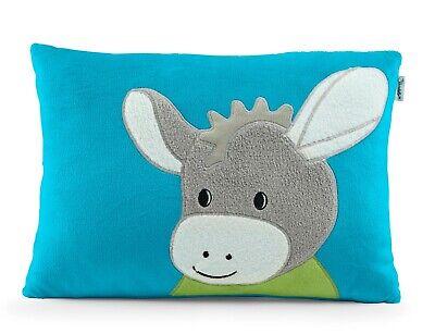 Geburtskissen Esel Kuscheltier blau mit Wunschname wählbar