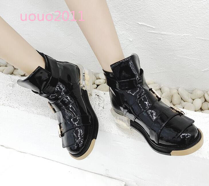 Punk Donna LEATHER Round Toe Ankle Boots Low Block Buckles Back Zip Motor Shoes