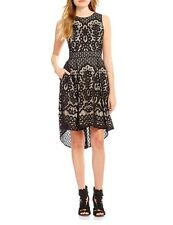 VINCE CAMUTO Dress Black Nude Lace Fit And Flare High Low Sleeveless XS 2 Party