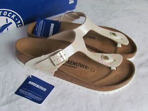 Details about NEW Birkenstock Gizeh Ladies Pearlised White Cream Toe Post Sandals Size 5.5 39