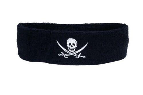 Stirnband Pirat mit zwei Schwertern 6x21cm Schweißband für Sport Headband