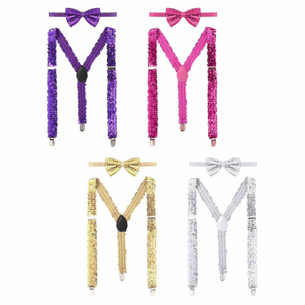 Women Sparkling Sequins Stretchy Adjustable Y Shaped Braces with Bow Tie Outfit