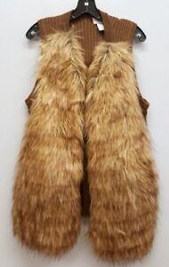 Størrelse Vest Brun Open Sweater Faux Chicos 2 Body Fur Front Strik SUqAdPR