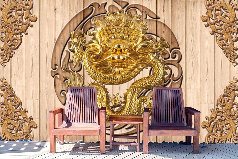 3D Gravure Dragon 4 Photo Papier Peint en Autocollant Murale Plafond Chambre Art