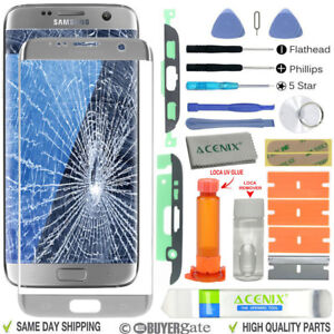 pretty nice b9fd1 f99c0 Details about Samsung Galaxy S7 Edge Replacement Screen Front Glass lens  Repair Kit SILVER UK