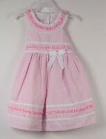 Jessica Ann Dress Pink 2t Bow Striped White 2 T