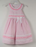 Jessica Ann Dress Pink 2t Bow Striped White 2 T