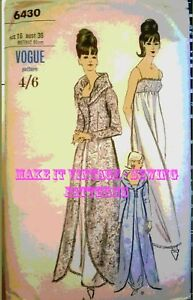 9ce8411221 Vintage 60 s VOGUE 6430 NIGHTGOWN DRESS ROBE COAT EVENING Sewing ...