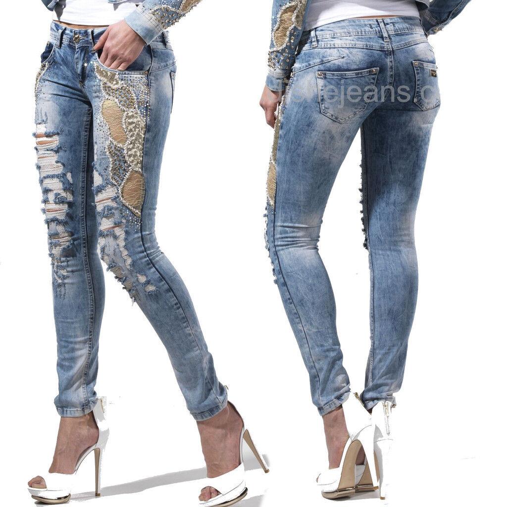 DISHE Handmade Damenjeans Jeans  Damenhose Nietenjeans Röhrenjeans 32-38  D11