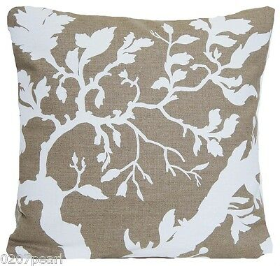 Hand Printed Floral Cushion Cover Linen Fabric White Pigment Vintage Style