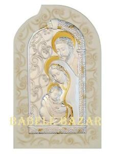 Icona Sacra Famiglia Quadro Argento Oro Legno Cm 23x15