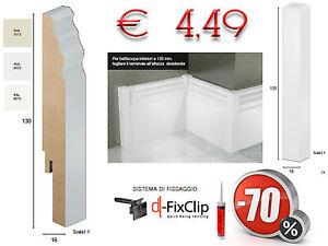Battiscopa Alto Bianco 9010 1013 Passacavo Inglese Ducale Clip
