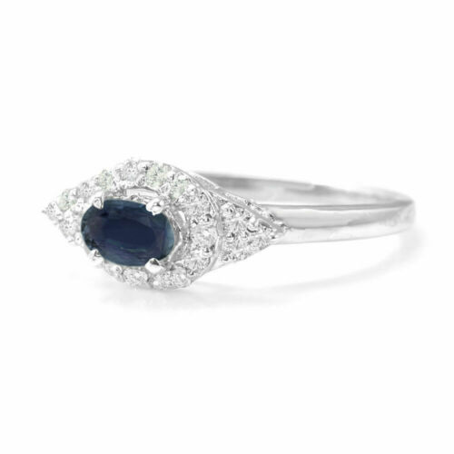 925 Sterling Silver Natural Oval Blue Sapphire Ring East-West Size H V