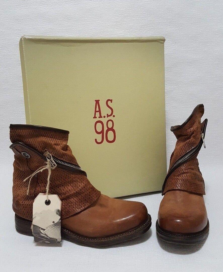 A.S.98 Smith Castagna Mujer Mujer Mujer Cuero botas Chelsea Con Cubierta Desmontable 36  caliente