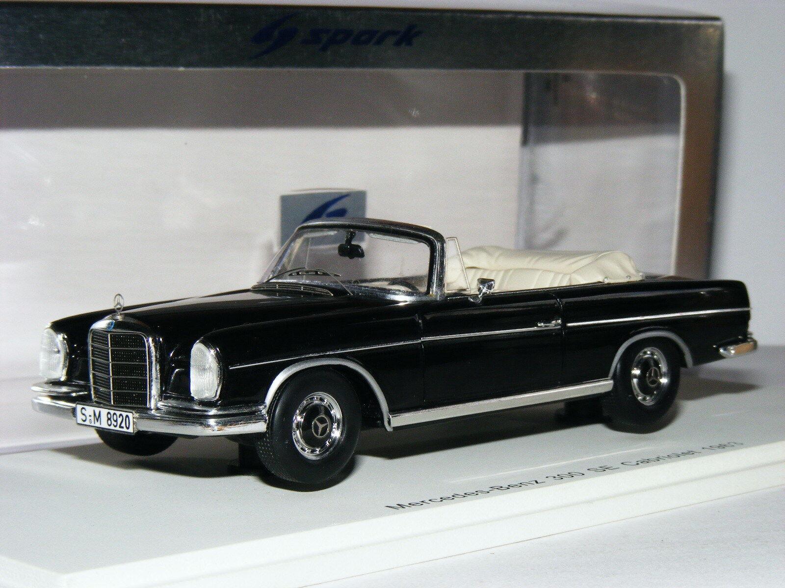 Spark S1061 S1061 S1061 1963 Mercedes-Benz W112 300 se Cabrio Negro 1 43 c4956a