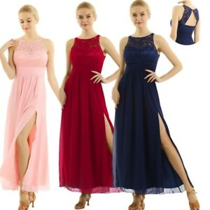 Women-Wedding-Bridesmaid-Evening-Party-Ball-Prom-Gown-Long-Cocktail-Slit-Dress