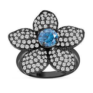Enhanced Blue Diamond Flower Engagement Ring 2 66 Carat 14k Black Gold Ebay