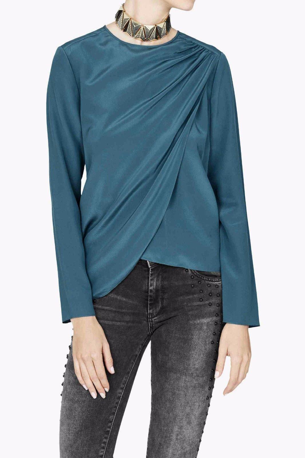 SASS & BIDE Athology Blau Silk Top Draped Blouse Größe 44 US 10  Celeb FAV