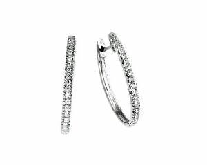 Joya De Oro Pendientes Diamantes 14 K 14 Blanco Aros Brillantes 0 50 Qt Nuevo Ebay