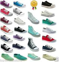 Top Women Ladies Girls Flat Lace Up Plimsolls Pumps Canvas Trainers All Sizes