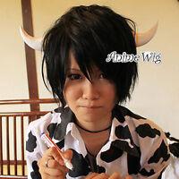 Reborn Lambo Cosplay Hair Short Layered Style Black Anime Men Women Wig +Wig Cap