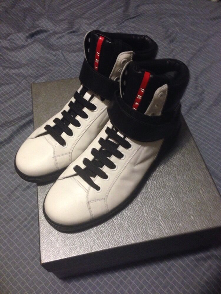 Prada High Top White And Black Leather. US Size 9