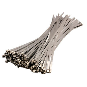 100PCS-4-6x300mm-Stainless-Steel-Exhaust-Wrap-Coated-Locking-Cable-Zip-Ties