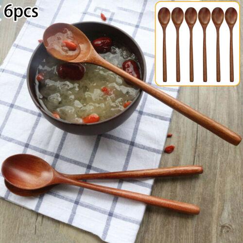 6Pcs Kitchen Wooden Spoon Cooking Utensil Tool Soup Tea Tableware Spoon Reusable