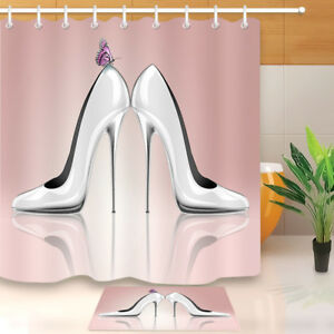 Image Is Loading Bathroom Shower Curtain Hooks Waterproof Fabric High Heel