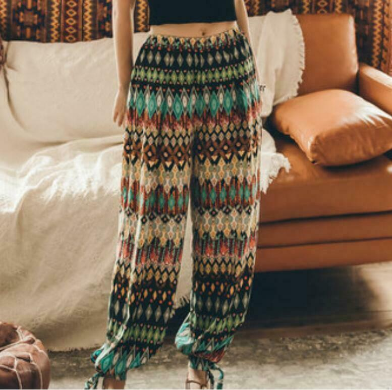 BOHO Printing Beach Holiday Long Harem Pants Women's Lace Up Tied Legs Trousers