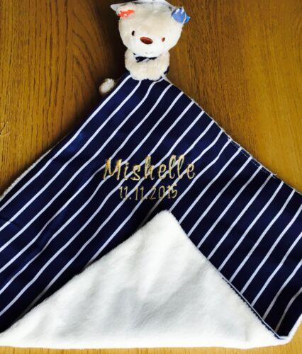 fecha Manta Edredón de Snuggly Recién Nacido Regalo Tedy Bear Personalizada bebé nombre