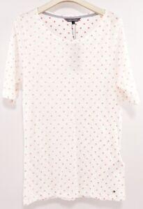 Tommy-Hilfiger-para-Mujer-a-Lunares-de-T-shirt-Top-Blanco-Rojo-Tallas-M-L