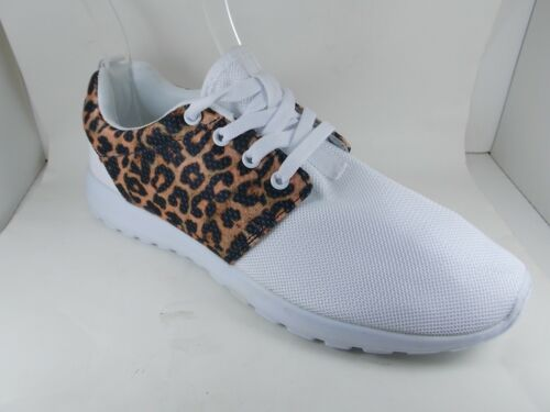Ladies Womens Lace Up Trainer Shoes Ankle Black White Leopard Print Flats Sport