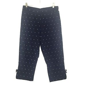 Dressbarn-Women-039-s-Stretch-Capris-Crop-Pants-10-Navy-Blue-Embroidered-Dots