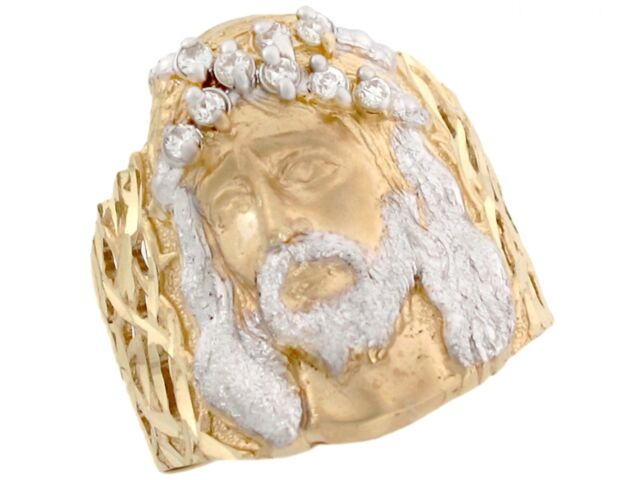 10k or 14k Two Tone Real Gold Simulated Ruby Cross Band Religious Mens Ring