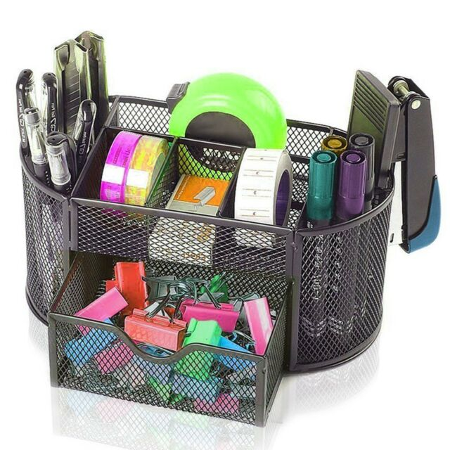 Officemate Oval Supply Caddy Desk Organizer - Elegant Black Mesh ...