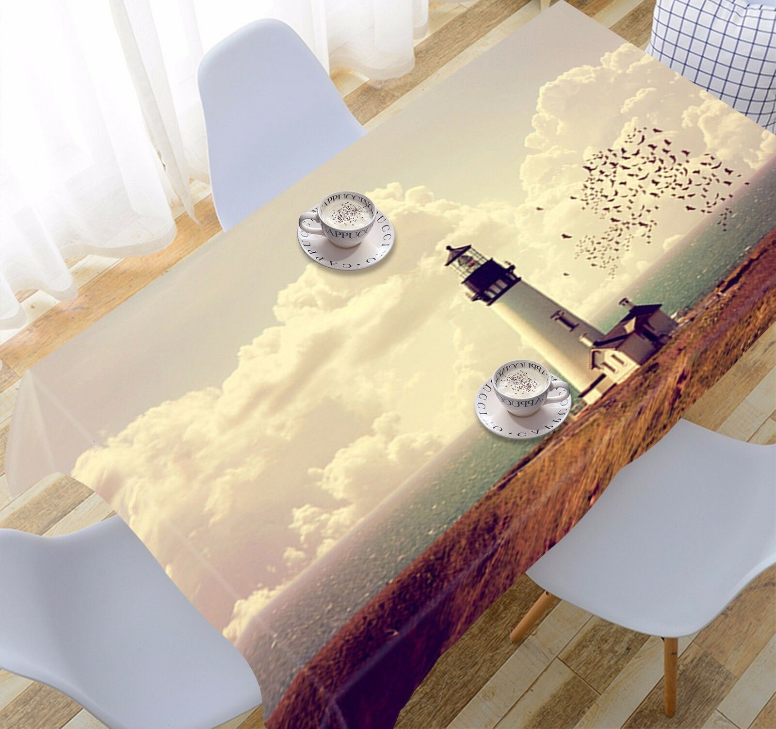 3D Sea Lighthouse Tablecloth Table Cover Cloth Birthday Party Event AJ WALLPAPER
