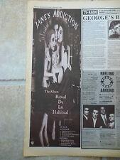 "JANES ADDICTION -RITUAL DE LO HABITUAL TOUR B&W N.M.E. ADVERT PICTURE 15"" X 5.5"""