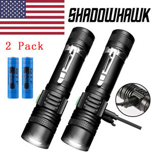 2-PACK-20000lm-USB-Rechargeable-CREE-T6-LED-Tactical-Flashlight-Torch-Shadowhawk