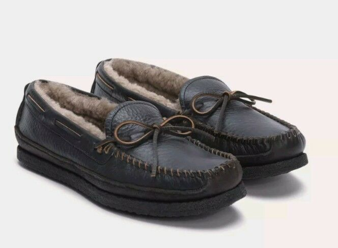 Frye Porter Tie Mens 8 M Shearling Fur Lined Moccasins Moc Slippers 84816 Black