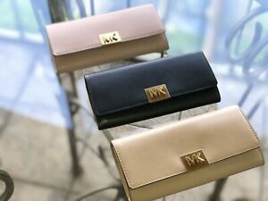 c61a1d3ee1b9 Image is loading MICHAEL-KORS-MINDY-POLISHED-LEATHER-CARRYALL-WALLET-IN-