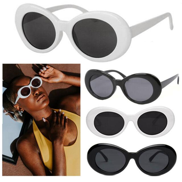 5d70e7af80 2 Oval Sunglasses White Black Clout Goggles Retro Glasses Vintage Kurt  Cobain