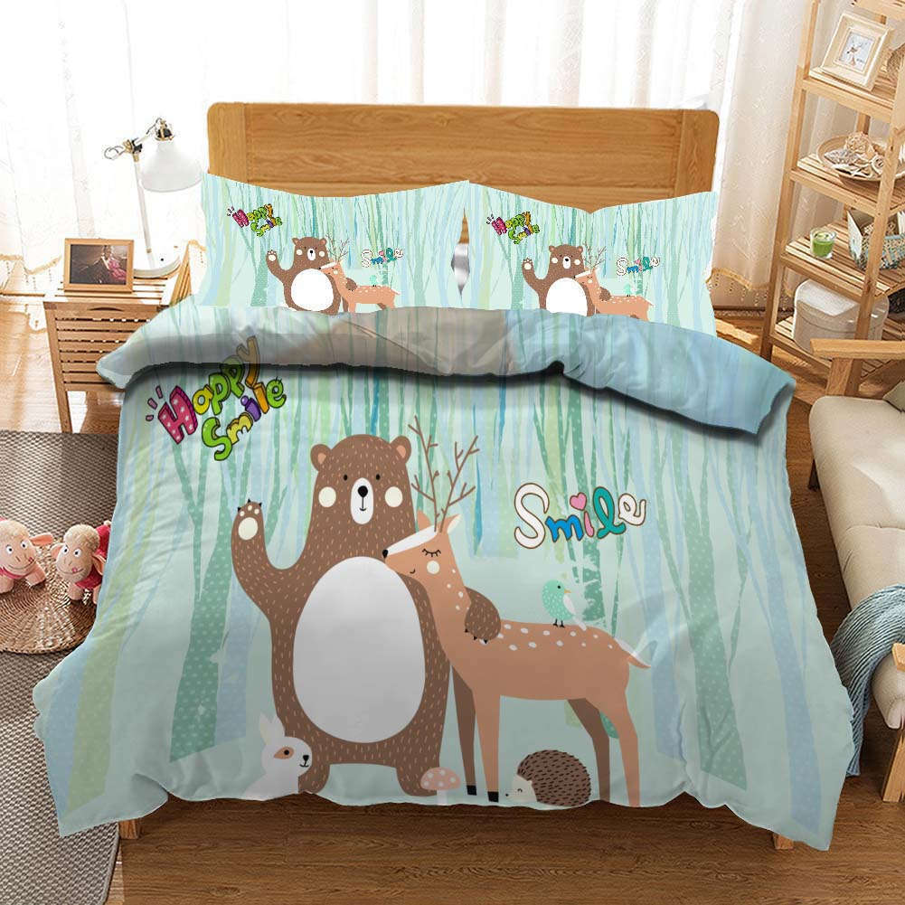 Bear Many Deers 3D Printing Duvet Quilt Doona Covers Pillow Case Bedding Sets