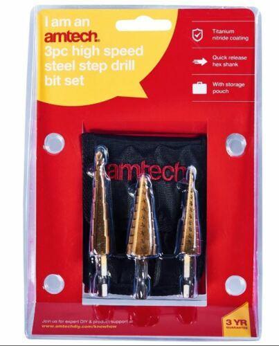 3pc Cône Haute Vitesse Acier Étape Trou coupe Drill Bit Set Cutter Outils F0785 UK