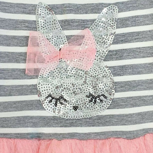 Toddler Baby Kid Girls Stripe Rabbit Patchwork Skirt Party Princess Dresses New