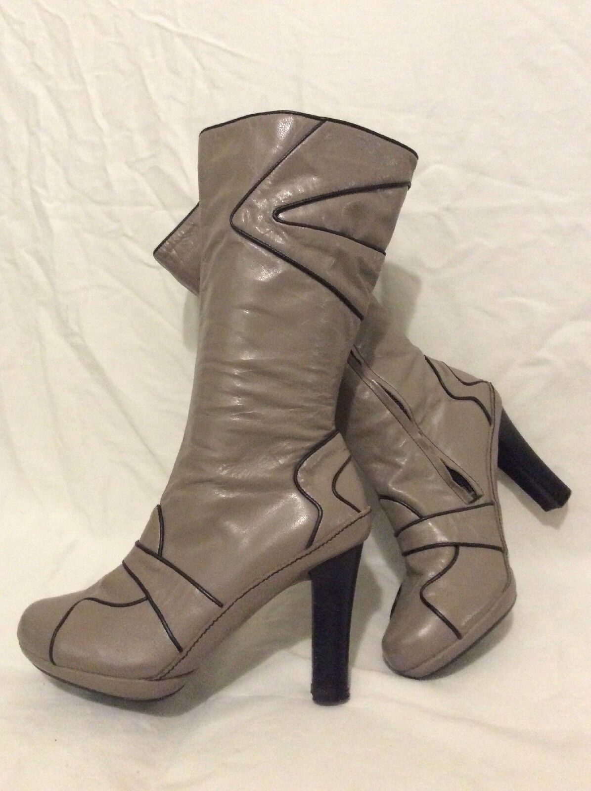J shoes Grey Mid Calf Leather Boots Size 6