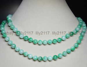 Natural-8mm-Multi-Color-Green-Jade-Gemstone-Round-Beads-Necklace-36-034-AAA