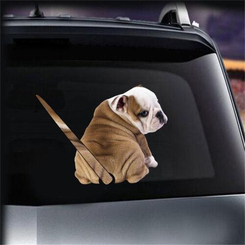 Auto Wiper Window Dog Puppy Moving Tail Car Sticker Rear Windshield 3D Bulldog A