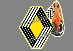 AUTOCOLLANT-STICKER-PIN-UP-RENAULT-LOSANGE-WINNER-GARAGE